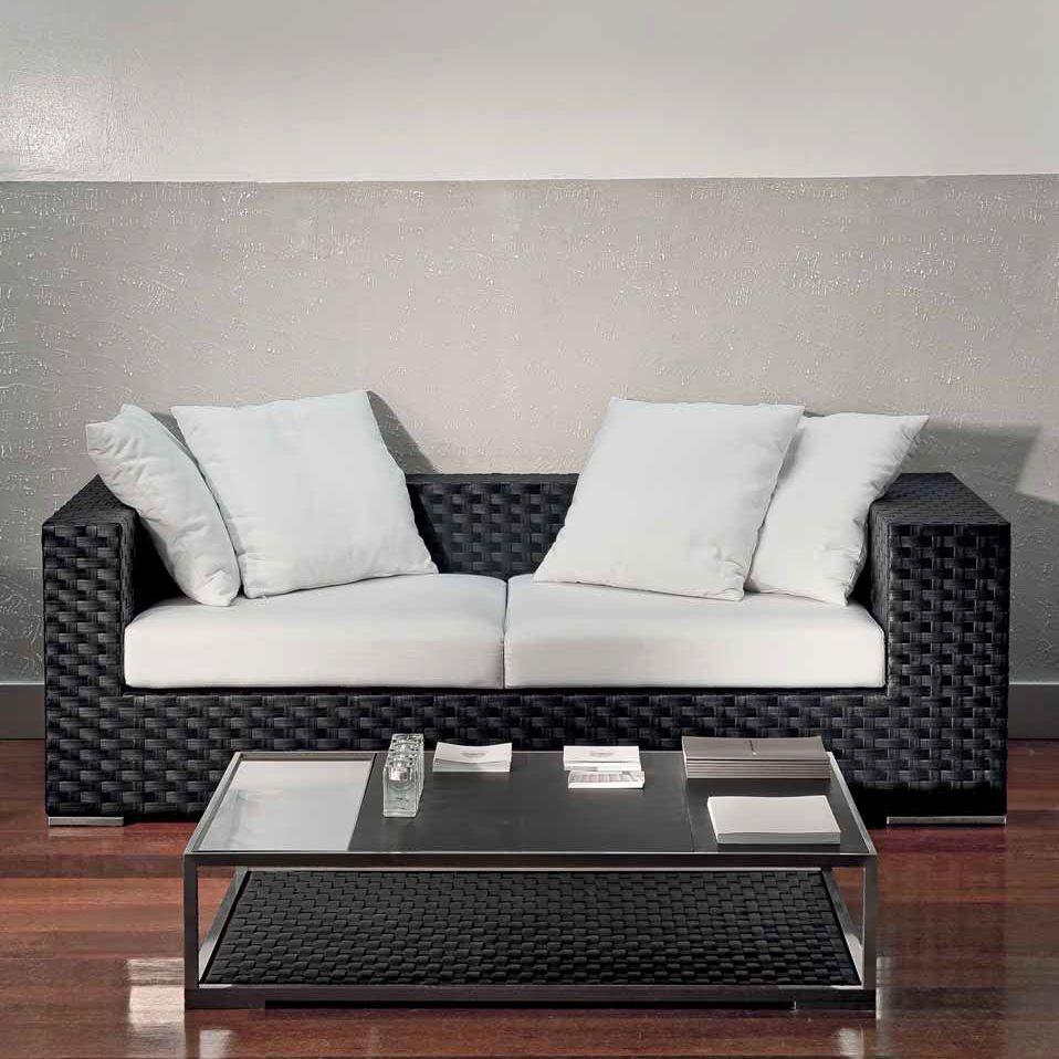 Contemporary Sofa Garden Resin Wicker 2 Person Domus