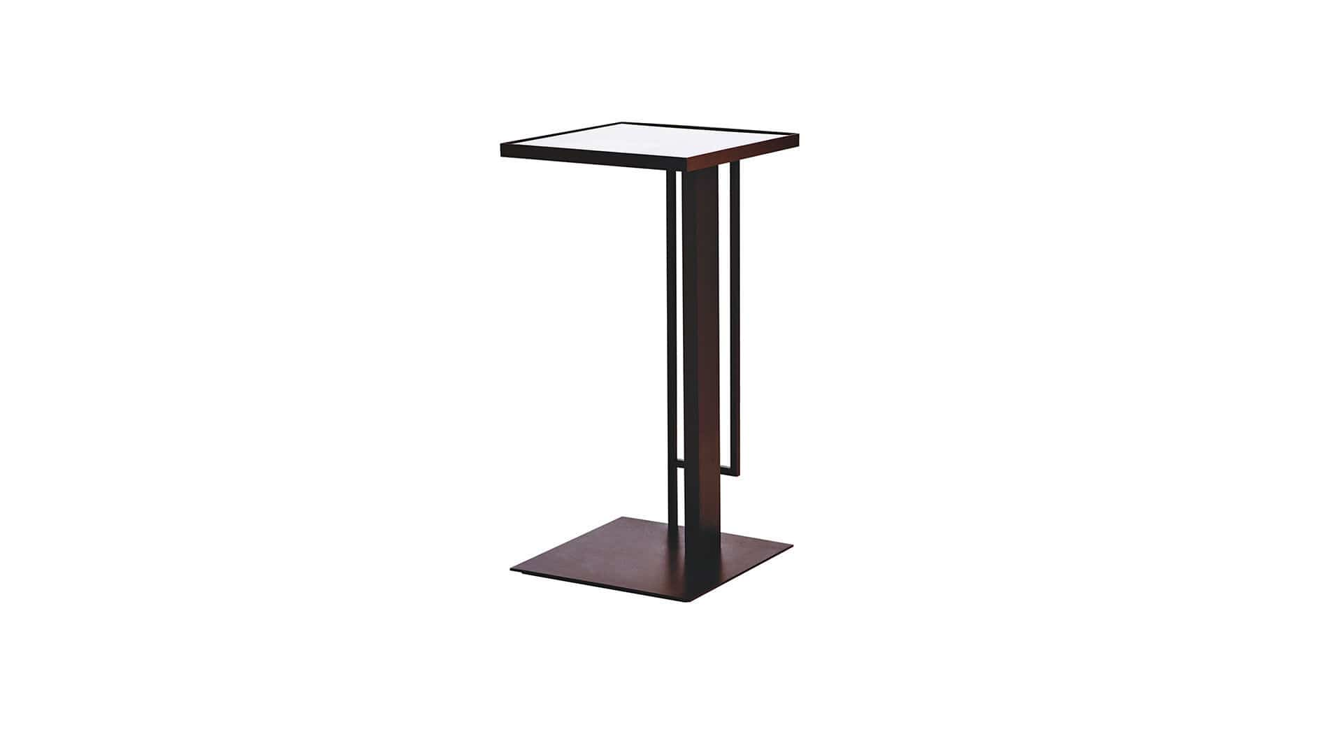 Contemporary High Bar Table / Glass / Stainless Steel / Square ARENA KENKOON