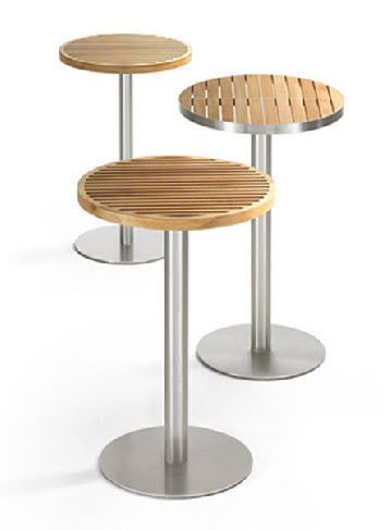 Contemporary High Bar Table / Teak / Stainless Steel / Round   KURF