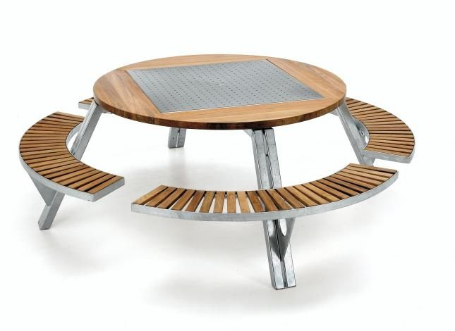 ... Contemporary Picnic Table / Iroko / Galvanized Steel / Round GARGANTUA  By Dirk Wynants EXTREMIS ...
