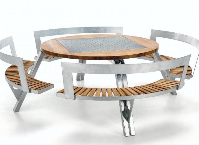 galvanized metal table contemporary picnic table iroko galvanized steel round