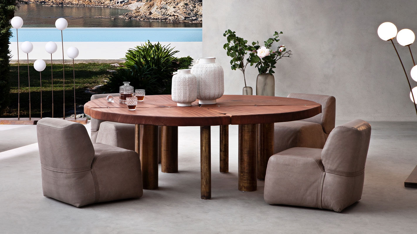 Contemporary Dining Table Mahogany Round Garden JOINT By Massimo Castagna EXTETA