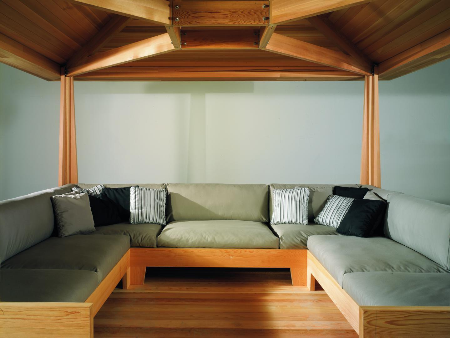 Red cedar gazebo - TEA HOUSE by Paolo Bonazzi - EXTETA on cedar shed design, cedar home design, cedar greenhouse design,