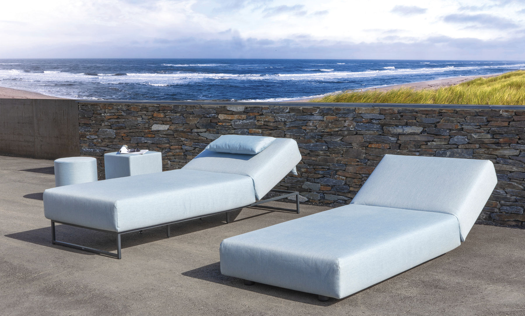 Contemporary Sun Lounger Sunbrella Stainless Steel Commercial