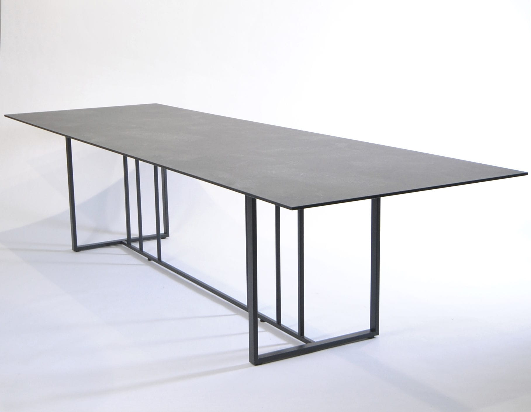 Fischer Möbel contemporary dining table laminate stainless steel rectangular