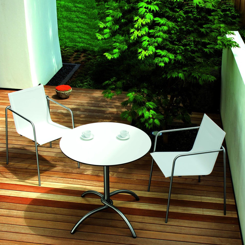 Contemporary Bistro Table Laminate Stainless Steel Teak Taku