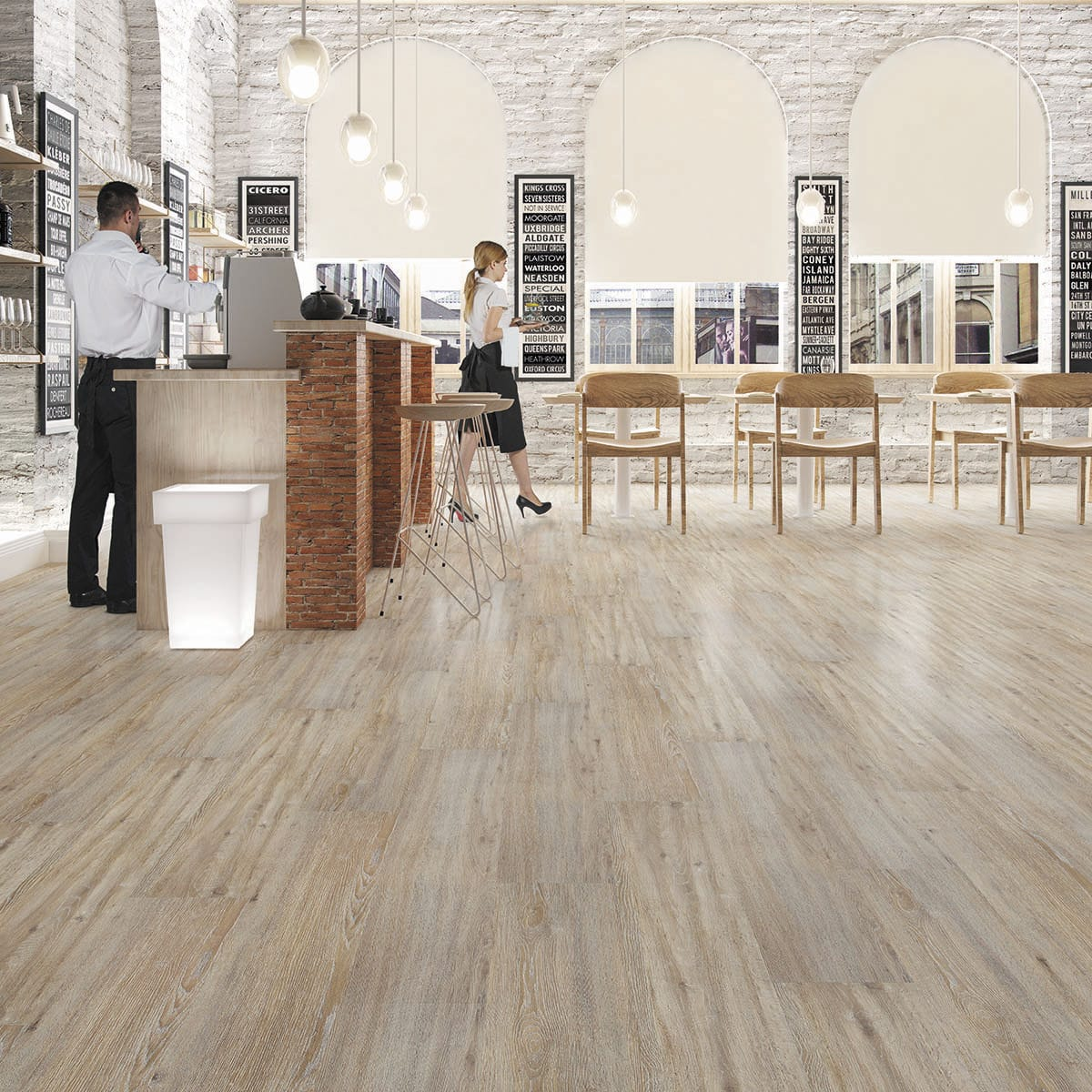 Hdf Laminate Flooring Floating Wood Look For Domestic Use Roble Taupe