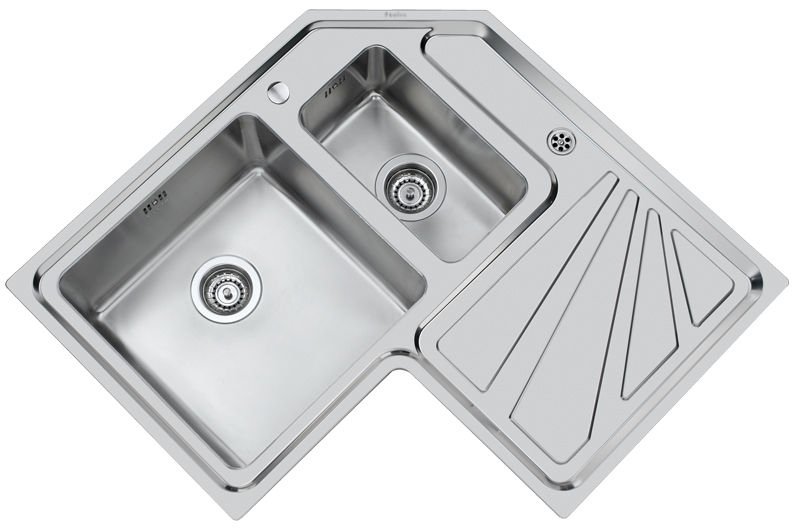 Double kitchen sink / stainless steel / corner / with drainboard ...