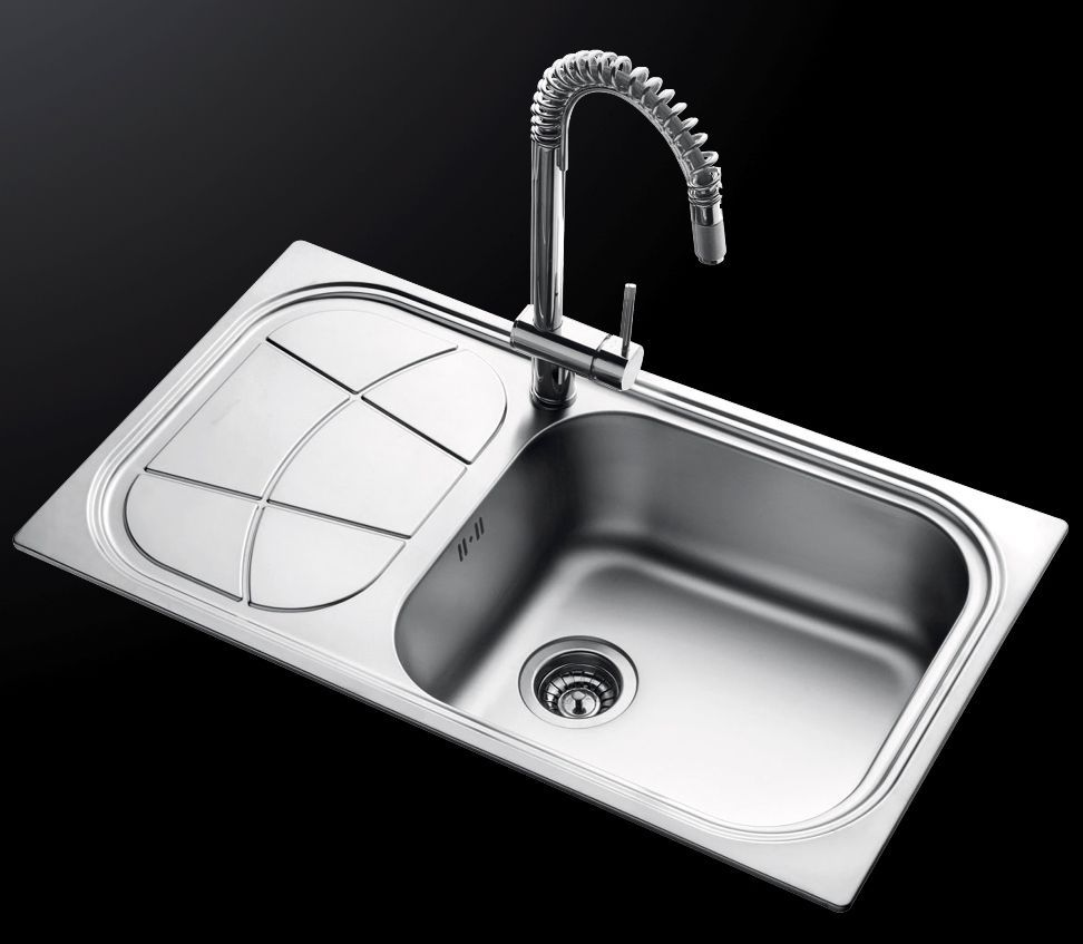 Single-bowl kitchen sink / stainless steel / with drainboard - BIG ...