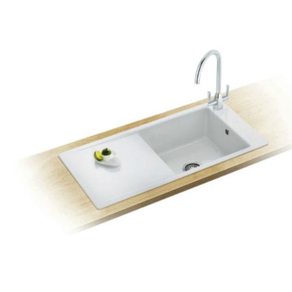 Single-bowl kitchen sink / ceramic / with drainboard - ASPEN : ANK ...