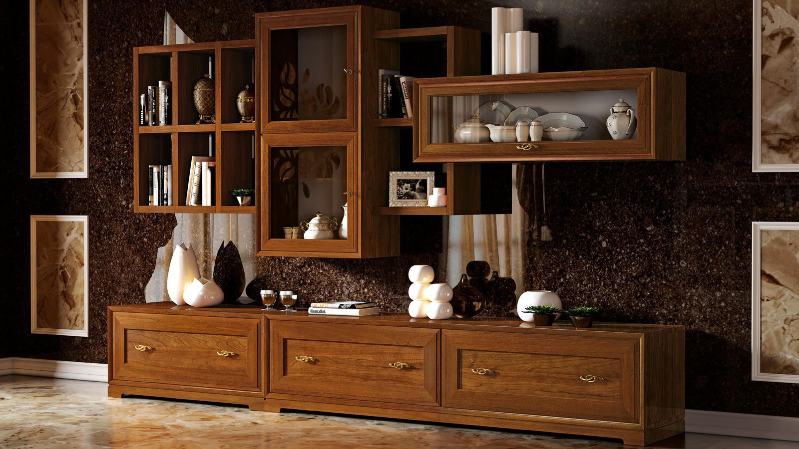 Living Room China Cabinet Contemporary Living Room Wall Unit Wooden La Dolce Vita Stilema