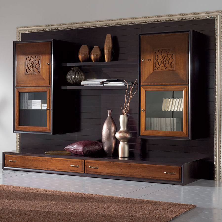 contemporary living room wall unit / lacquered wood - four seasons