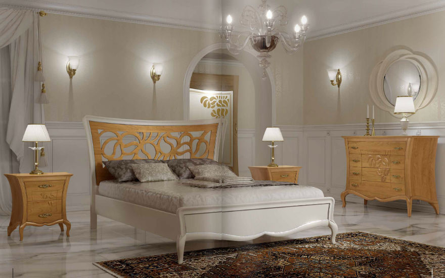 Double bed / contemporary / with upholstered headboard / upholstered ...