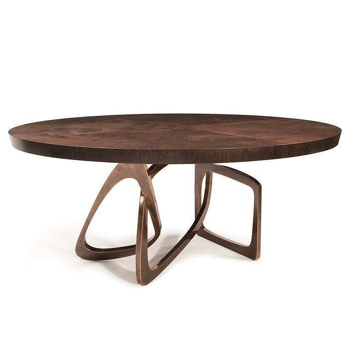... Contemporary Dining Table / Walnut / Polished Stainless Steel / Bronze  BANGLE Hudson Furniture ...