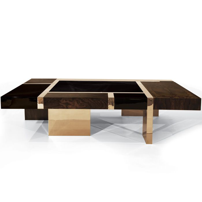Contemporary Coffee Table / Wood Veneer / Bronze / Square BIARRITZ Hudson  Furniture ...