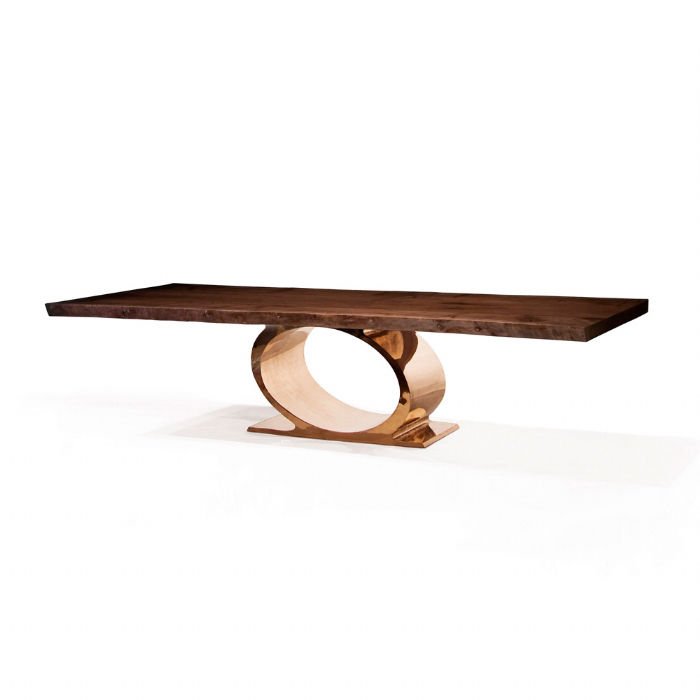 Bronze Furniture contemporary dining table / walnut / polished stainless steel