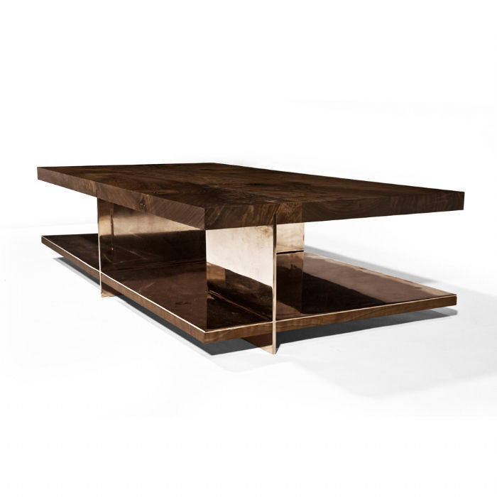 ... Contemporary Coffee Table / Walnut / Bronze / Stainless Steel GRID By  Barlas Baylar Hudson Furniture ...