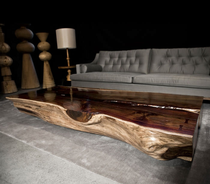 Contemporary Coffee Table / Rosewood / Rectangular / In Reclaimed Material  TRUNK Hudson Furniture ...