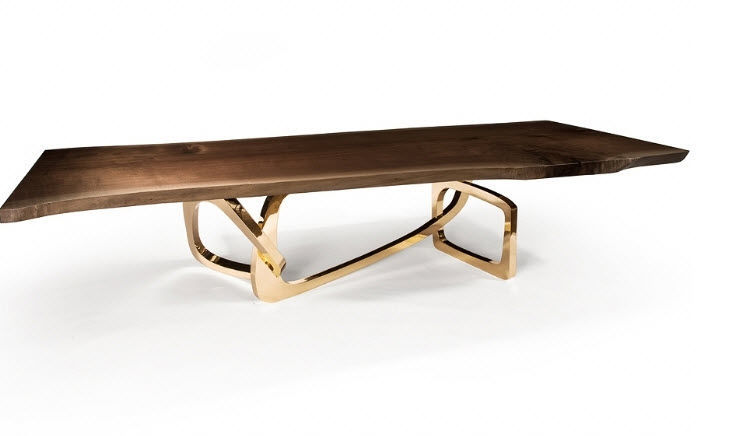 Superb ... Contemporary Dining Table / Walnut / Polished Stainless Steel / Bronze  BANGLE Hudson Furniture ...