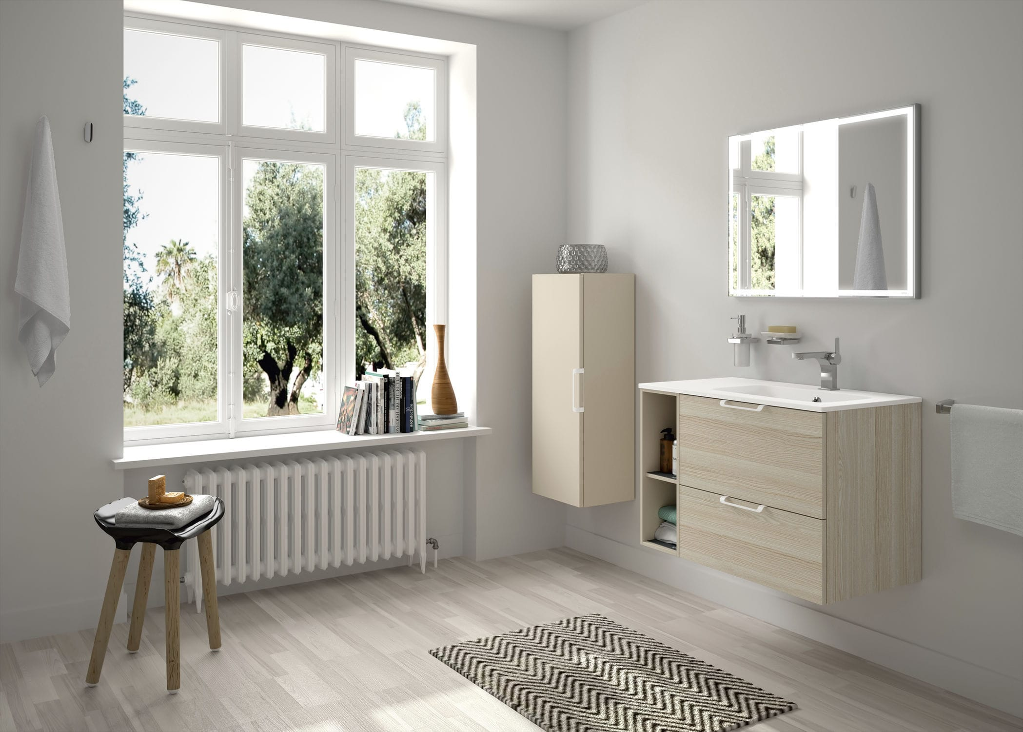 Modular shelf contemporary laminate bathroom EVOLVE