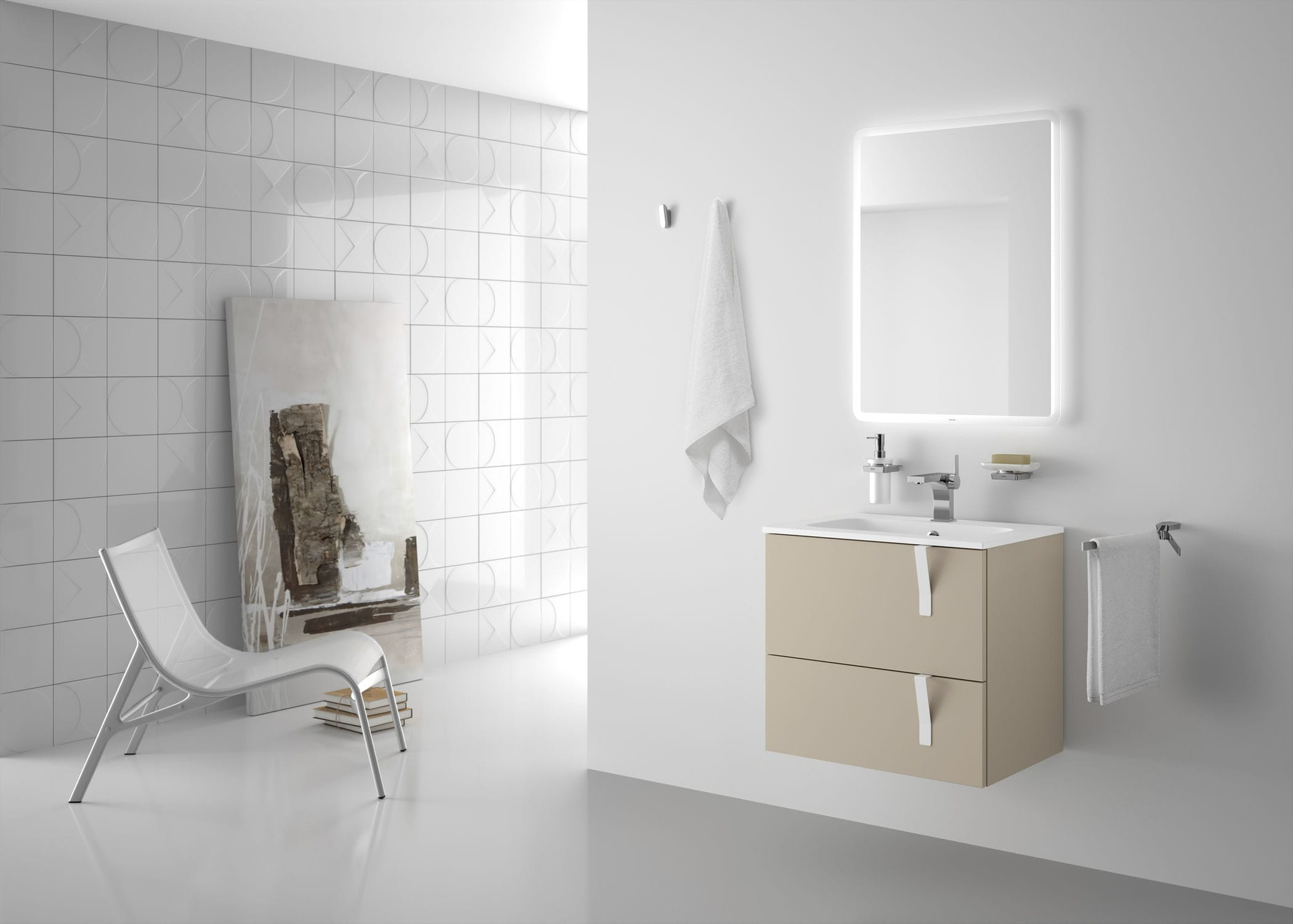 Double washbasin cabinet / wall-hung / free-standing / laminate ...