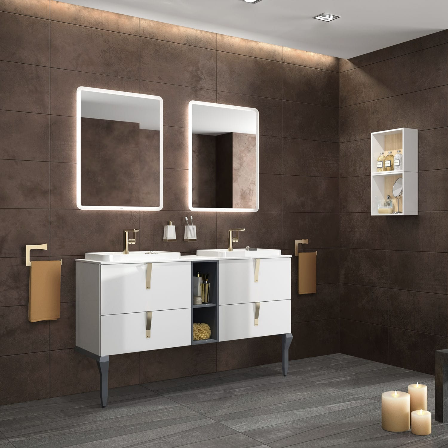 Double Washbasin Cabinet / Wall Hung / Free Standing / Laminate EVOLVE:  166985 ...