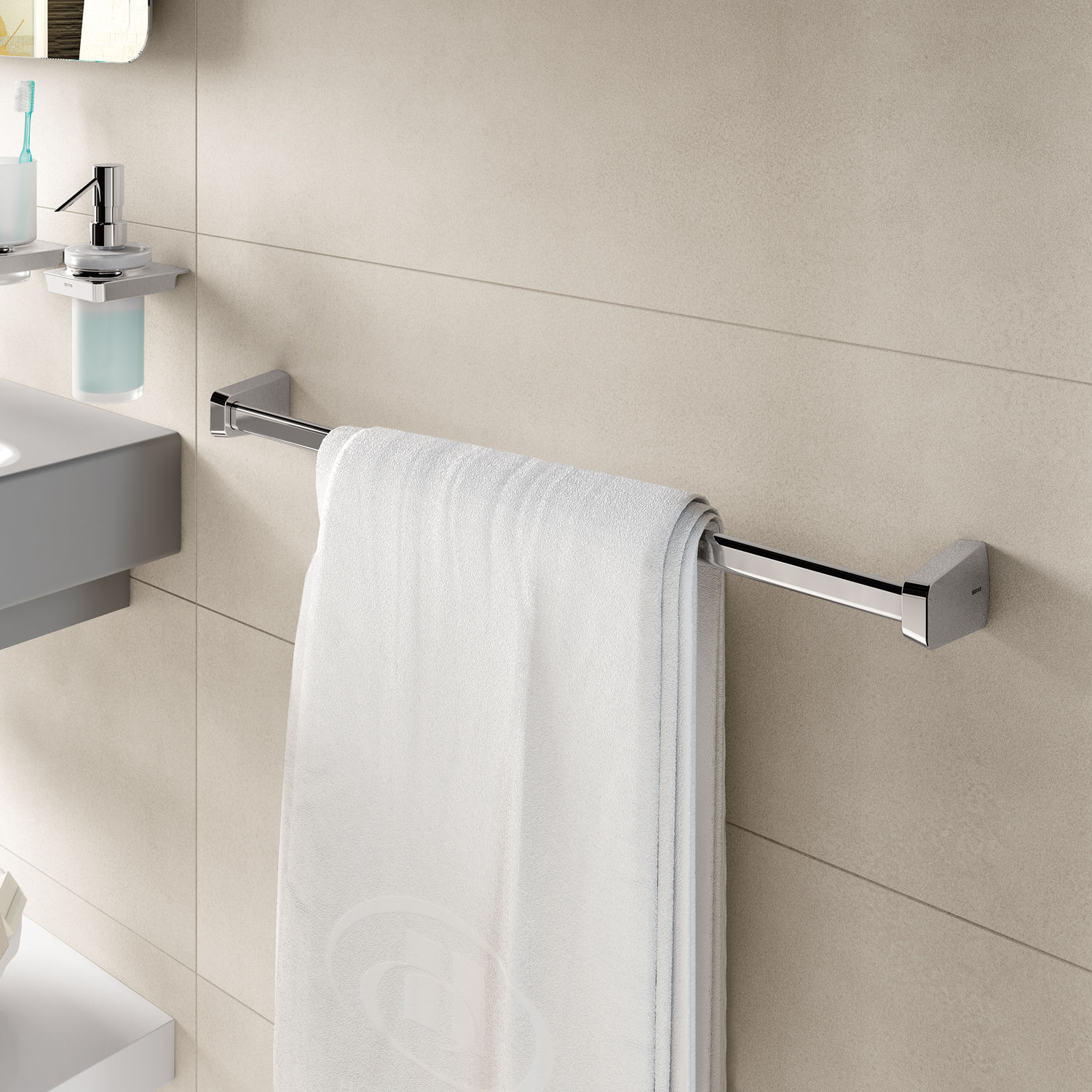 1-bar towel rack / wall-mounted / metal - S6: 16 SERIES - Sonia Bath