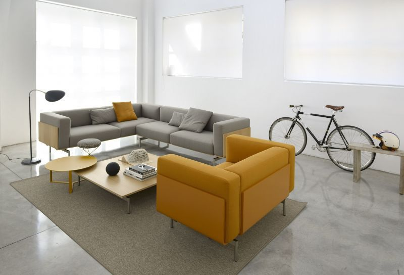 Corner sofa / modular / contemporary / leather - L-SOFA - Task Systems