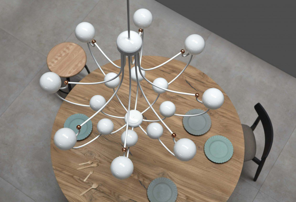 Contemporary chandelier glass copper led dots by