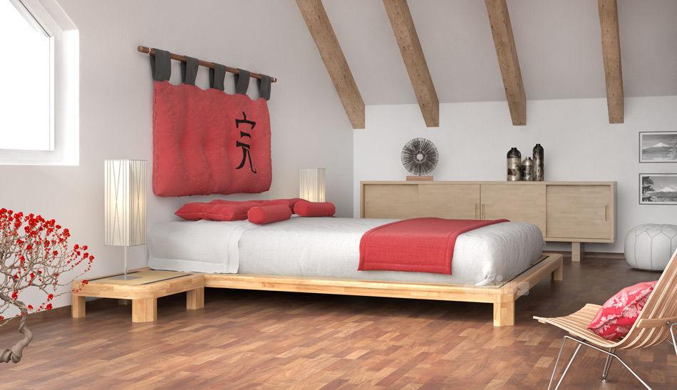 tatami bed double wooden dojo h - Tatami Bed