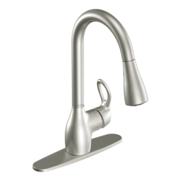 Stainless steel mixer tap / kitchen / 1-hole / with pull-out spray ...