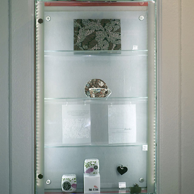 Contemporary Display Case Wall Mounted Glass Stainless Steel