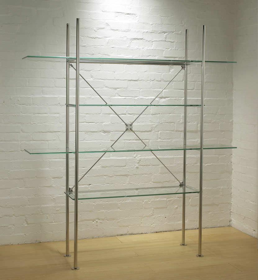 Contemporary shelf / metal / glass - CRISS CROSS - Shopkit