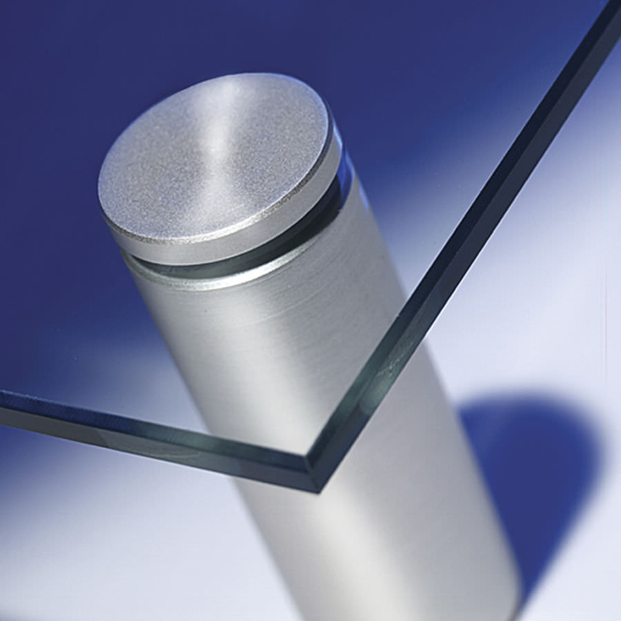 Metal glass clamp / for panels / for walls - DRILLED - Shopkit