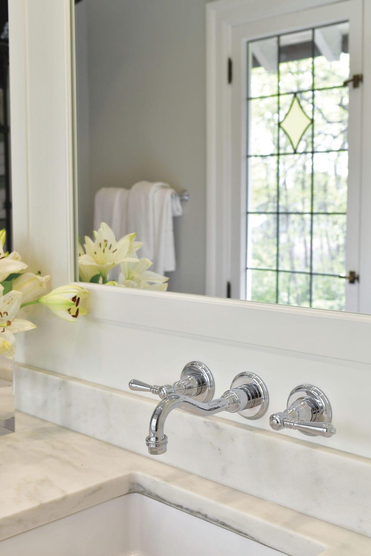 ... Double Handle Washbasin Mixer Tap / Wall Mounted / Chromed Metal /  Bathroom ...