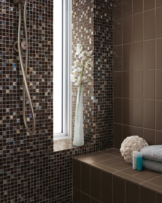 Indoor Mosaic Tile Bathroom Wall Gl Origins Earth Blend