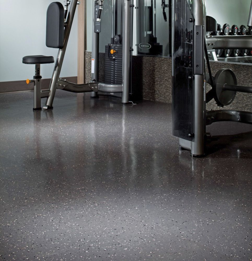 Indoor Flexible Tile Floor Recycled Rubber Polished Tuflex