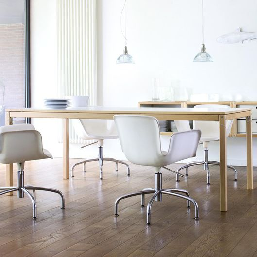 Flötotto Profilsystem contemporary dining table beech rectangular white