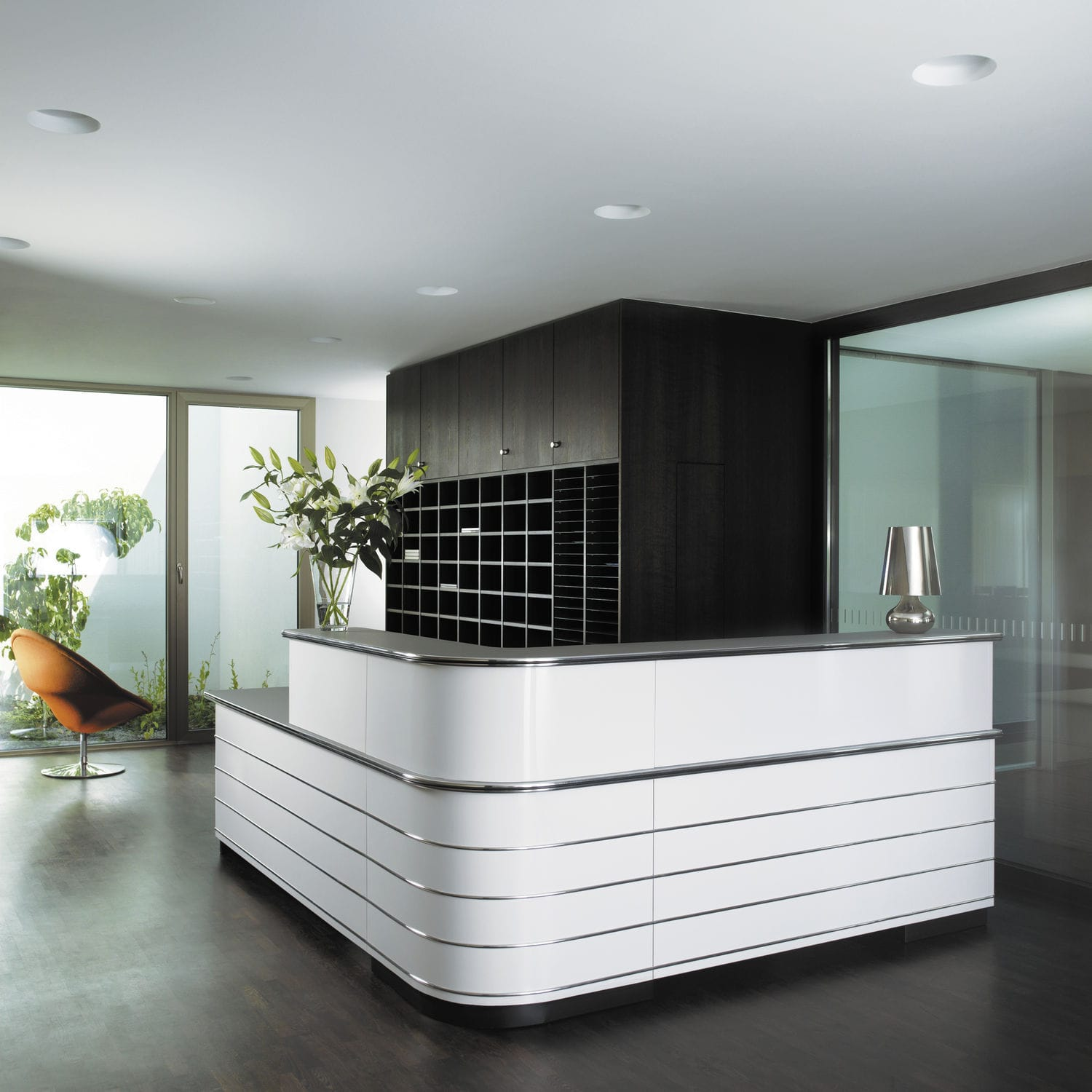 Corner Reception Desk Modular Laminate Metal Counter By In House Design