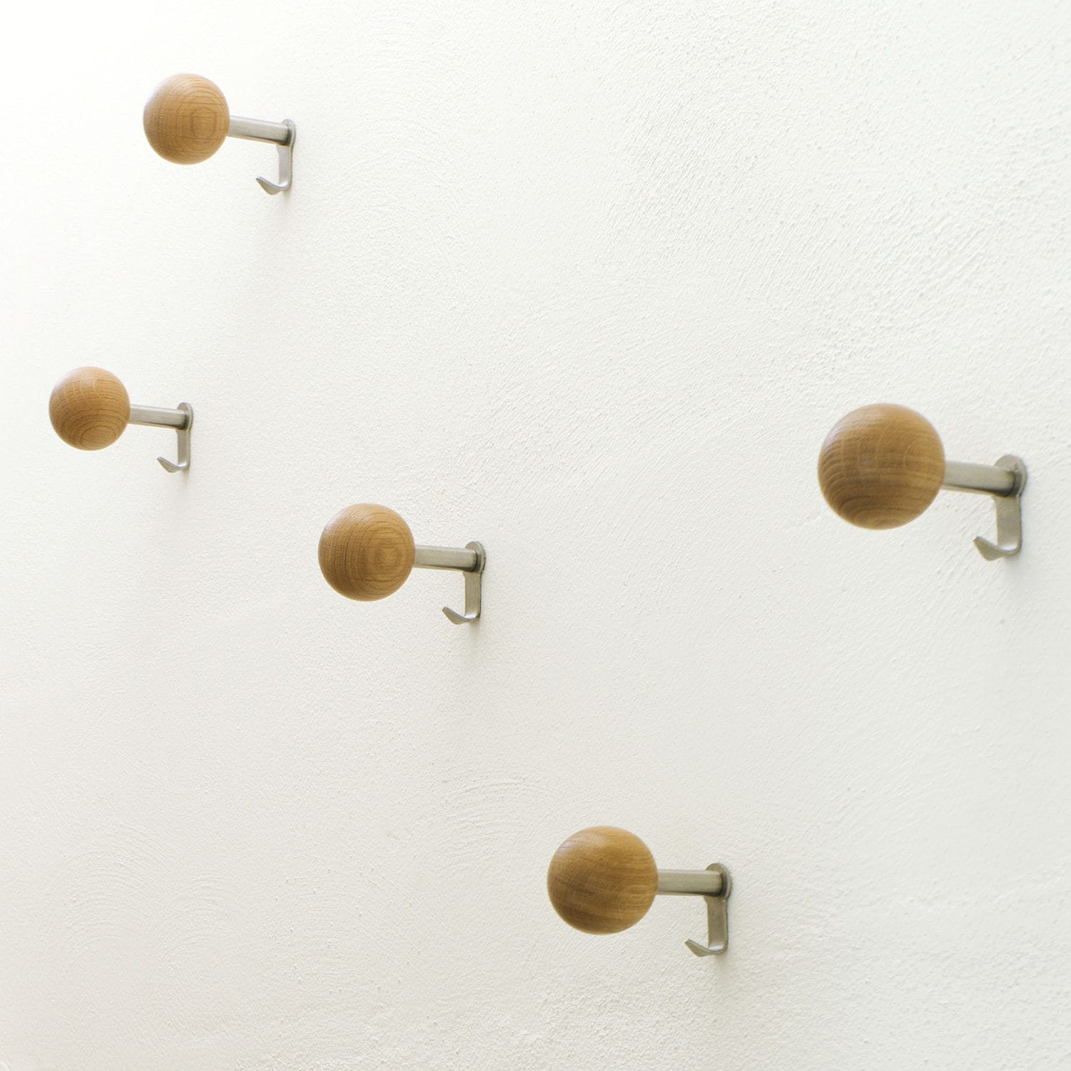 Contemporary Coat Hooks contemporary coat hook / oak / brushed stainless steel - dots