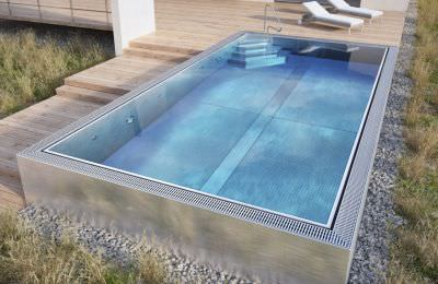 semi inground swimming pool stainless steel self supporting overflow marine luxe