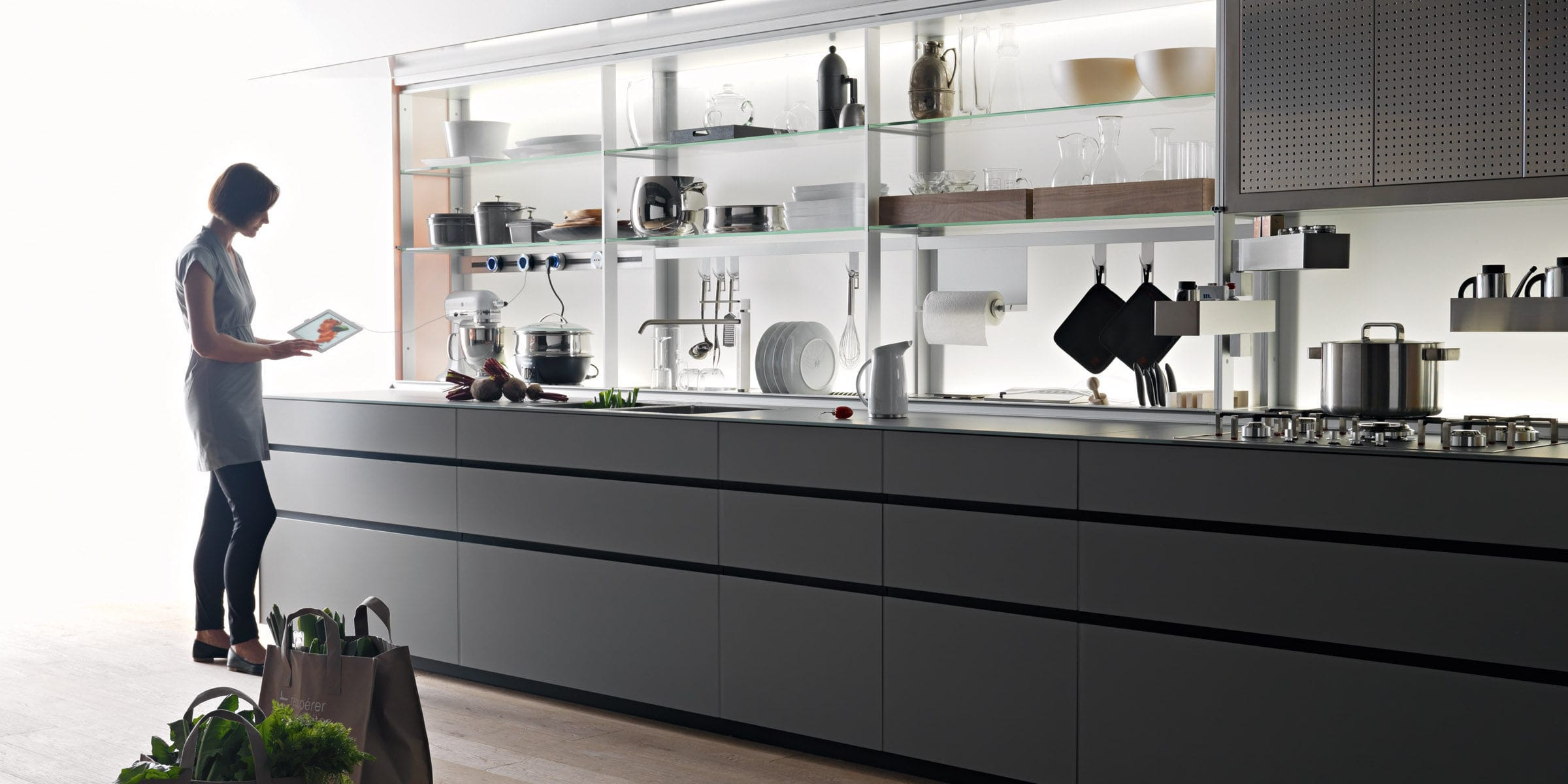 Contemporary kitchen / lacquered wood / glass / ecological ...
