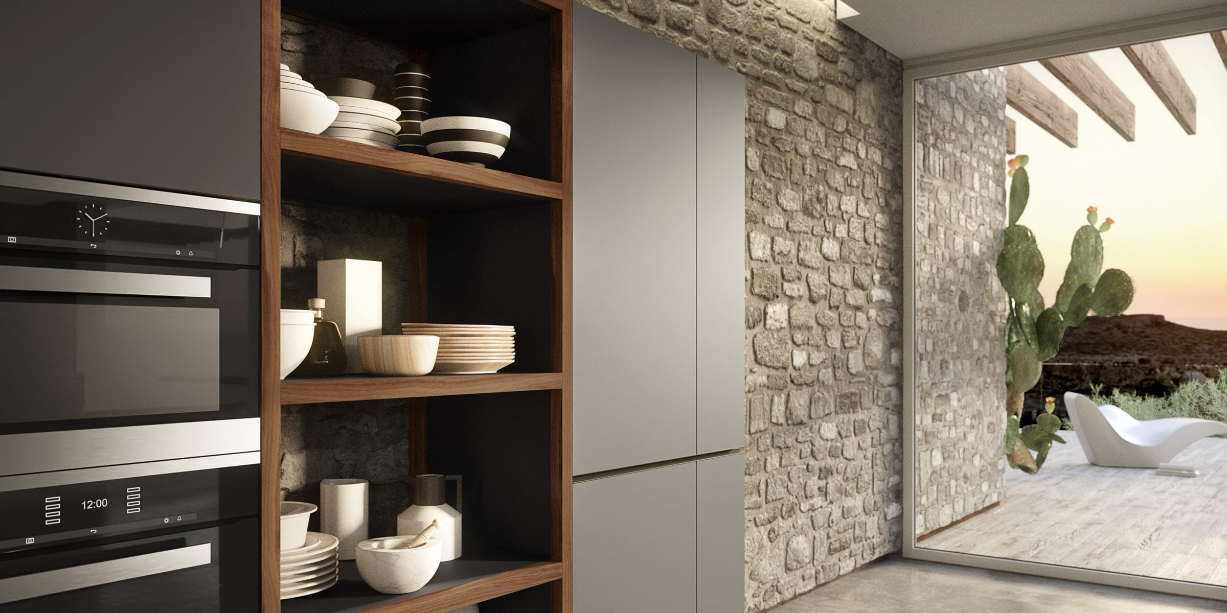 Contemporary Kitchen Wood Veneer Lacquered Wood Melamine
