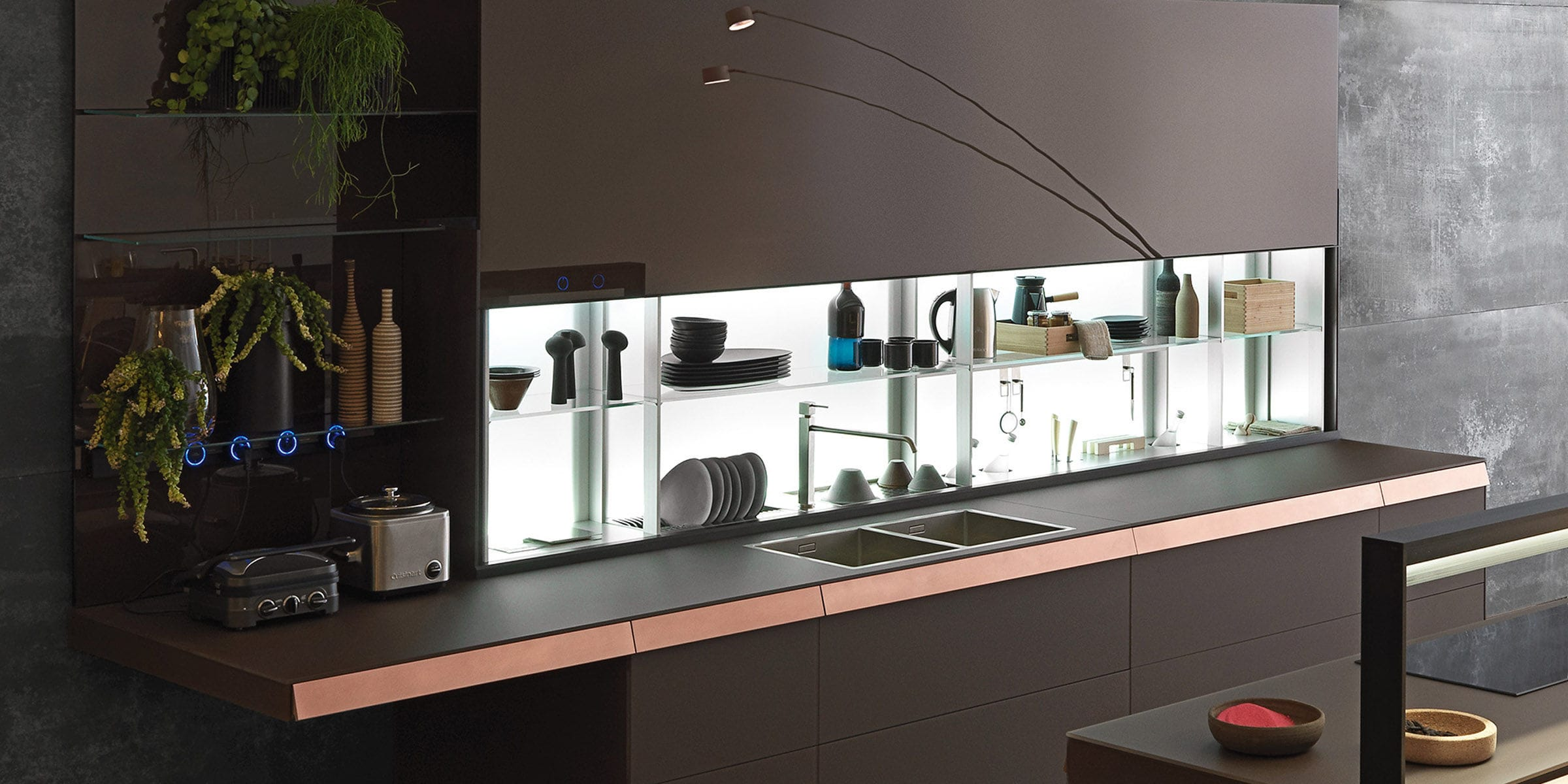 Contemporary shelf / glass / for kitchens / illuminated - AIR LOGICA ...