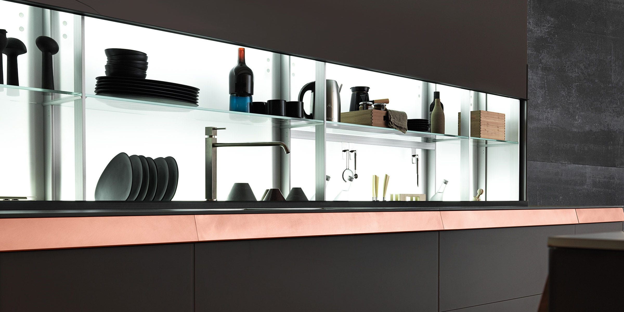 Contemporary shelf glass for kitchens illuminated air contemporary shelf glass for kitchens illuminated air logica system valcucine amipublicfo Image collections