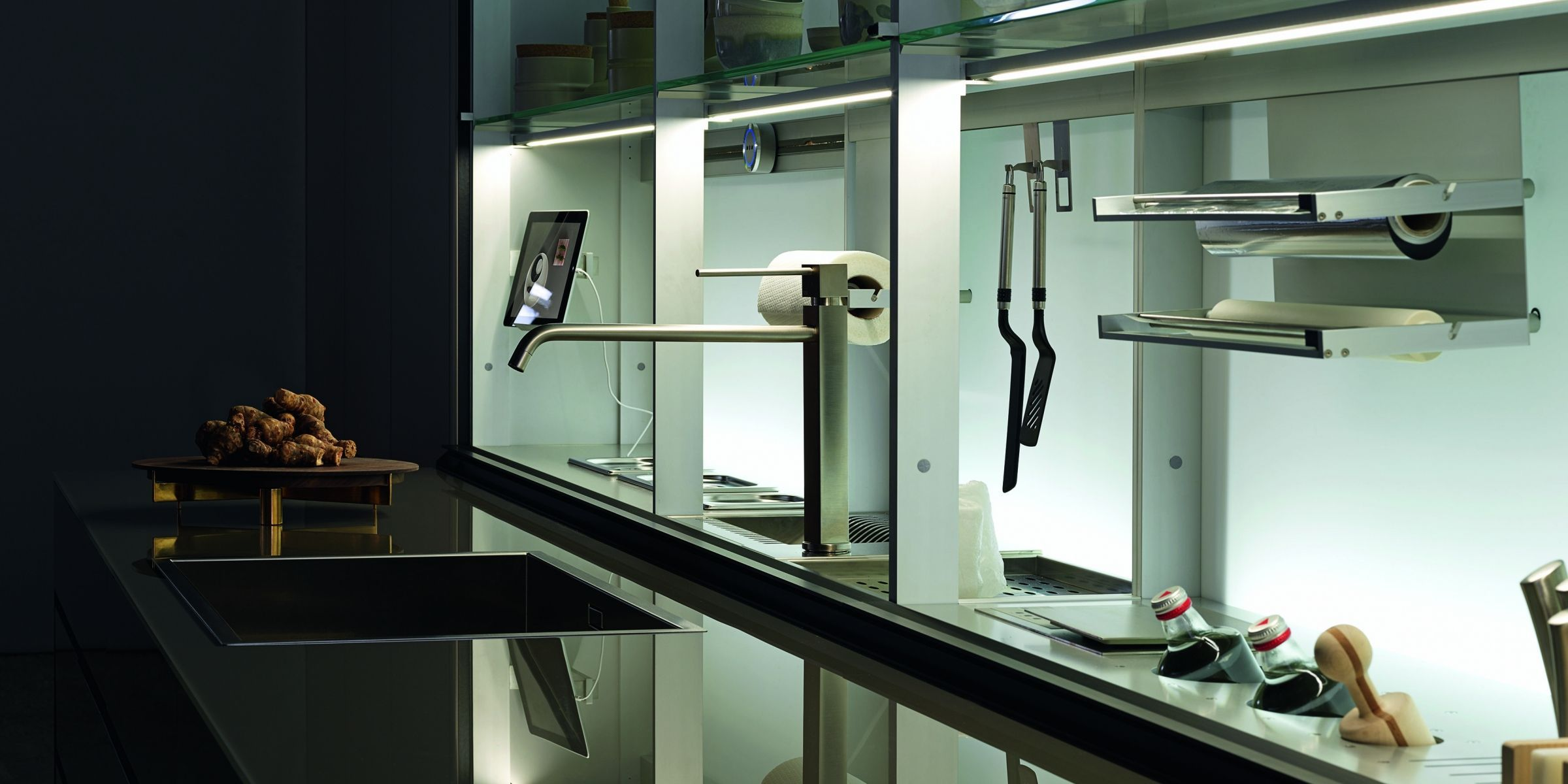 Contemporary shelf / glass / for kitchens / illuminated - NEW ...