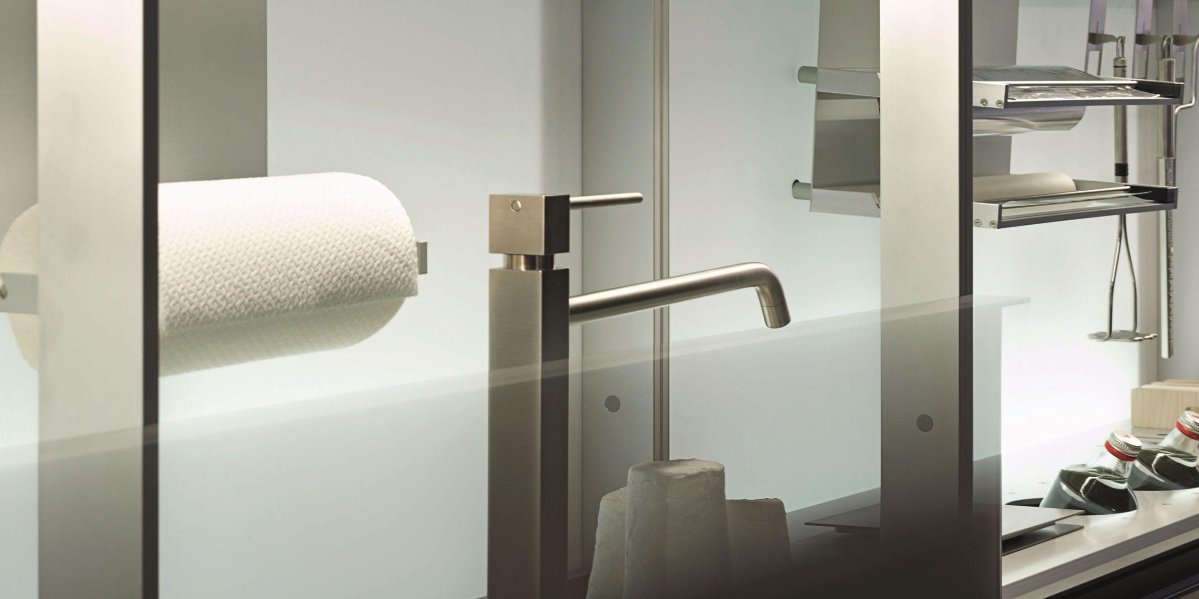 Contemporary shelf / glass / for kitchens / illuminated - NEW ...