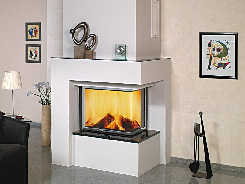 Woodburning fireplace contemporary closed hearth corner