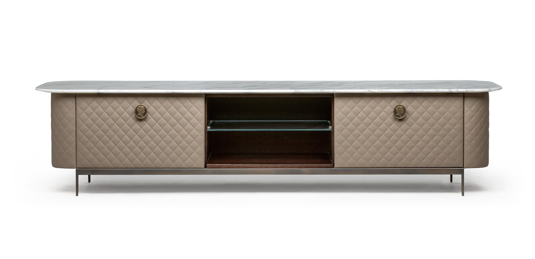 Art Deco Style Tv Cabinet Wooden Leather Penelope By  # Meuble Tv Wooden Art