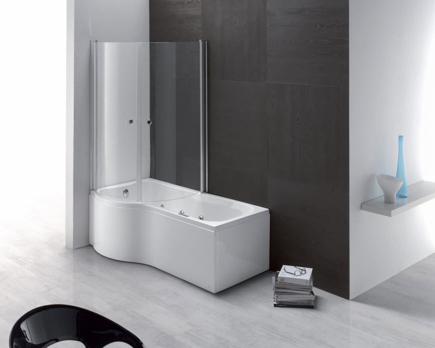 Built-in bathtub-shower combination / rectangular / composite - DUO ...